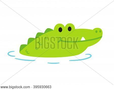 Cute Cartoon Alligator Or Crocodile Sticking Head Out Of Water. Funny Clip Art Illustration In Simpl