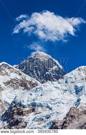 Everest Mountain Smoking In Khumbu Or Everest Region In Himalaya, Nepal