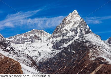 Scenic Mountain Landscape In Everest Or Khumbu Region In Himalaya In Nepal