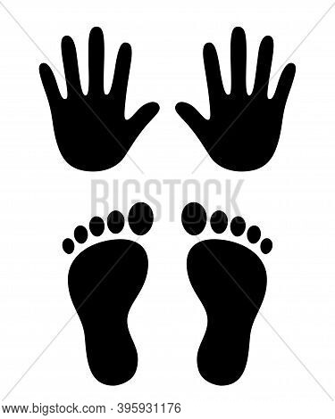 Human Hand And Foot Prints, Stylized Handprint And Footprint Trace. Black And White Icon, Vector Ill