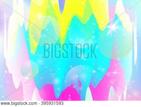 Universe Landscape With Holographic Cosmos And Abstract Future Background. 3d Fluid. Futuristic Grad