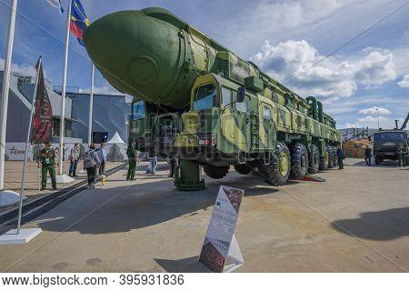 Moscow Region, Russia - August 25, 2020: Autonomous Launcher 15u168 Of The Soviet Strategic Missile
