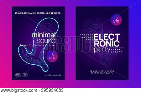 Abstract Music. Geometric Discotheque Brochure Set. Dynamic Fluid Shape And Line. Abstract Music Fly