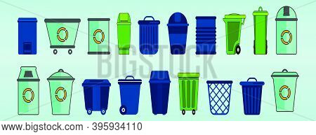 Set Of Trash. Cartoon Icon Design Template With Various Models. Modern Vector Illustration Isolated