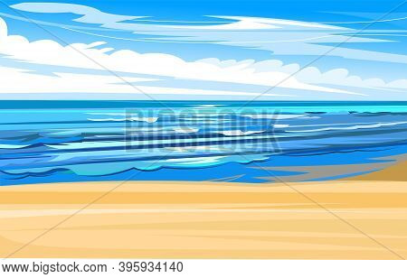 Seaside. Tidal Bore. Yellow Coastal Sand. Foamy Waves Of The Sea. Skyline With Clouds And Blue Sky.