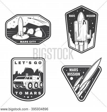 Set Of Space Mission Logo, Badge, Patch. Vector Illustration. Concept For Shirt, Print, Stamp. Vinta