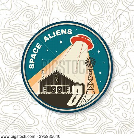 Space Aliens. Humans Are Not Alone. Vector Illustration. Concept For Shirt, Print, Stamp, Overlay Or