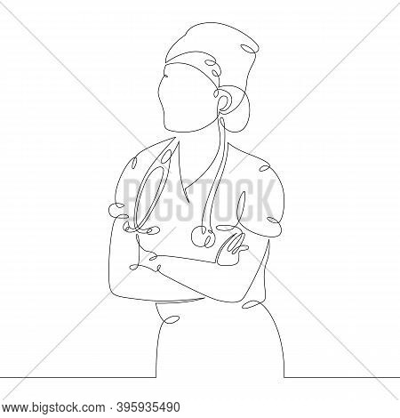 Young Woman Doctor Nurse In Medical Uniform And Stethoscope. One Continuous Drawing Line, Logo Singl