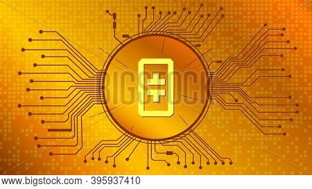 Theta Cryptocurrency Token Symbol, Coin Icon In Circle With Pcb On Gold Background. Vector Illustrat