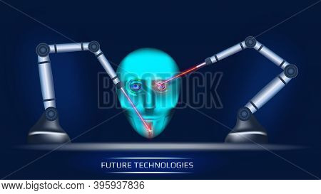 A Futuristic Concept Of Artificial Intelligence Where Two Mechanical Manipulators Create Cybernetic