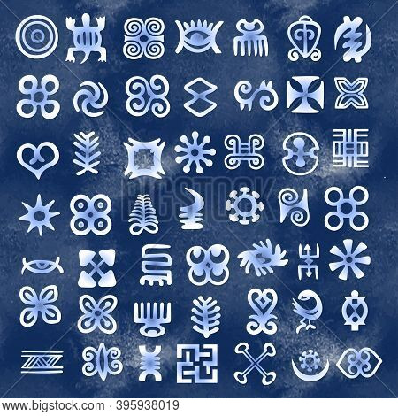African Adinkra Pattern - Digital Art Ritual Symbols And Screen Printing Nations And Tribes Akans Of