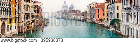 Amazing romantic Venice town. View of Grand canal from Academy' bridge. Italy travel and ladmarks