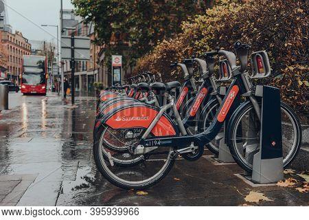 London, Uk - November 19, 2020: Santander Cycles Docking Station In London Bridge. Santander Cycles