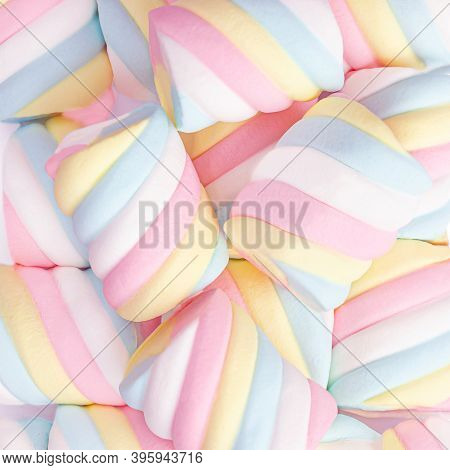 Marshmallow Pattern Background.  Pastel Colored  Marshmallows Sweet Dessert Food Macro