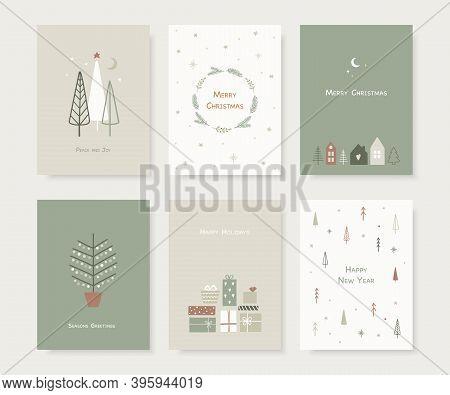 Set Of Hand Drawn Christmas Greeting Cards. Trendy Hand Drawn Christmas Trees, Snowflakes, Gift Box