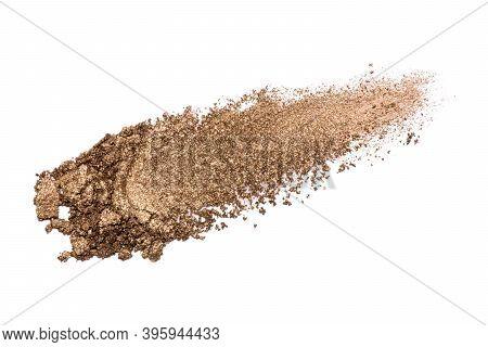 Eyeshadow Sample Isolated On White Background. Crushed Brown Metallic Eyeshadow. Closeup Of A Makeup