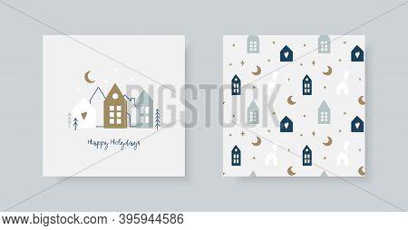 Set Of Hand Christmas Greeting Card And Winter Pattern In Scandinavian Style. Cute Scandinavian Hous