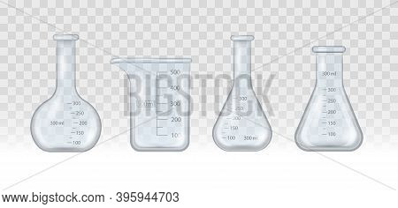Realistic Lab Beaker, Glass Flask And Other Chemical Containers, 3d Measuring Medical Equipment Isol