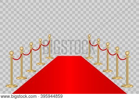 Red Carpet And Path Barriers 3d. Vip Event, Luxury Celebration. Gold Queue Rope Barrier Posts Stands