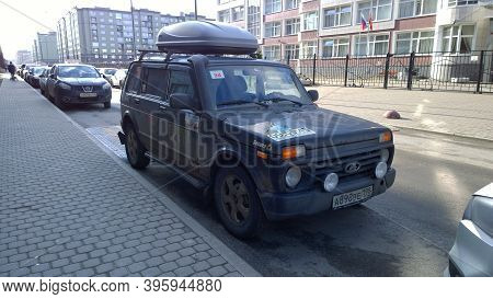 St. Petersburg, Russia - March 6, 2020: Lada Niva - Popular Russian Car Manufacturer For The City, F