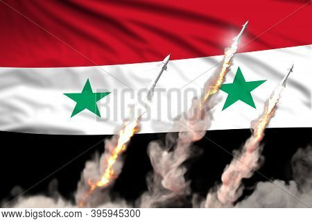 Syrian Arab Republic Nuclear Warhead Launch - Modern Strategic Nuclear Rocket Weapons Concept On Fla