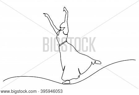 Continuous Line Drawing Of Woman Dancing In Long Dress. Bride Drawing In One Continuous Line. One Li