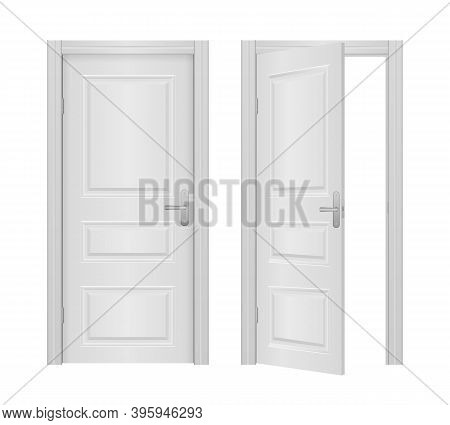 Open And Closed Front Door Of The House Isolated On White Background. Open And Closed Entrance Reali