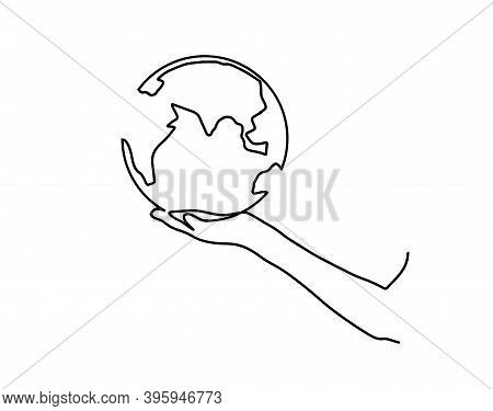 Continuous One Line Drawing. Hands Hold The Globe. Continuous Line Drawing Of Human Hand Holding Wor
