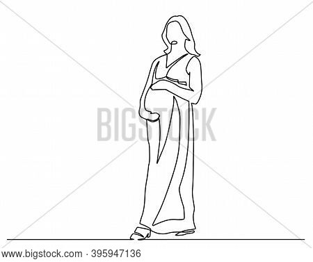 Continuous Line Drawing. Happy Pregnant Woman, Silhouette Picture. Vector Illustration. Continuous L