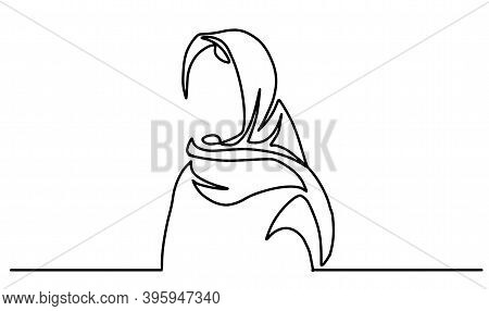 One Line Drawing Of Women Wearing Hijab Scarf. One Line Drawing Of Women Wearing Hijab Scarf. Women
