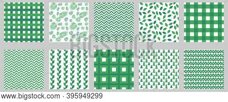 Green Gingham Seamless Patterns Set. Square Geometric And Floral Backgrounds For Tablecloths, Napkin