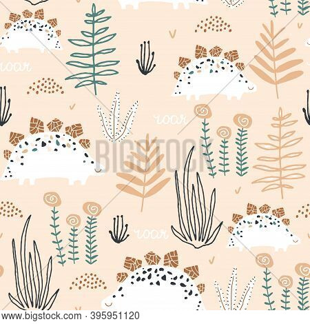 Childish Seamless Pattern With Stegosaurus And Jungle Flora. Creative Vector Childish Background For