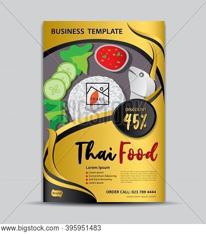 Thai food flyer template, poster design, food menu cover, label, banner, tag, cover, magazine ads, gold background, Business cover design, brochure cover, gold background, gold texture, food poster, book cover, vector illustration