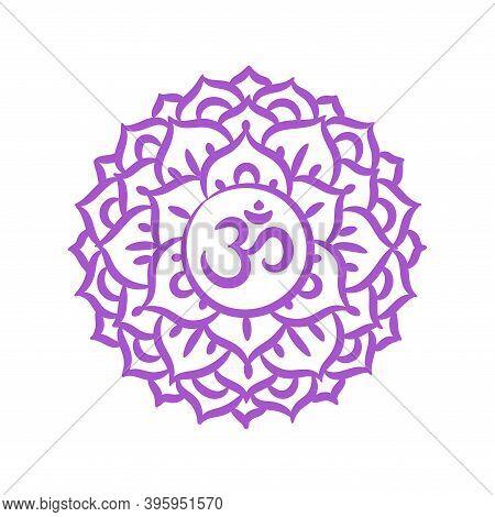 Sahasrara Sketch Icon. The Seventh Crown, Parietal Chakra. Vector Purple Line Symbol. Sacral Sign. M