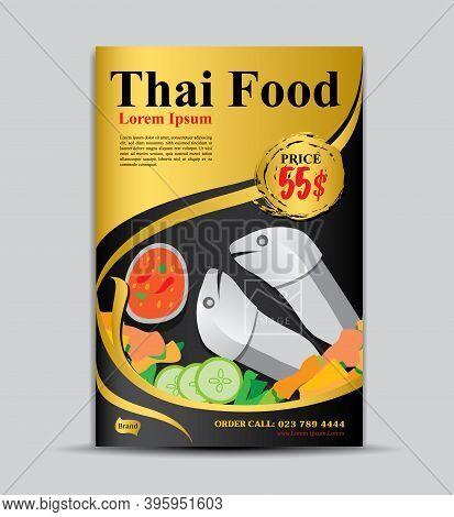 Thai food flyer template, poster design, food menu cover, label, banner, tag, cover, magazine ads, gold background, Business cover design, brochure cover, gold background, gold texture, food poster, vector illustration