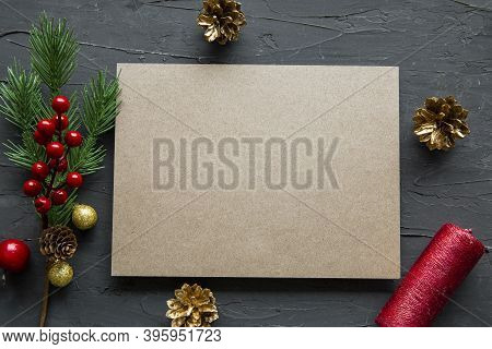 Christmas Background, Golden Cones, Fir Branch And Festive Decorations On Black Background, Space Fo