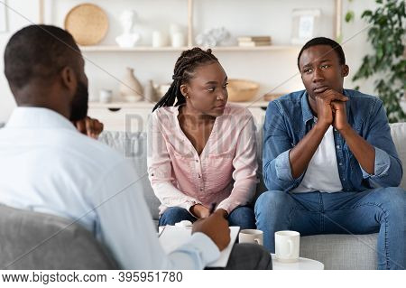 Family Counseling. Young Black Spouses Having Meeting At Marriage Therapist Office, African American