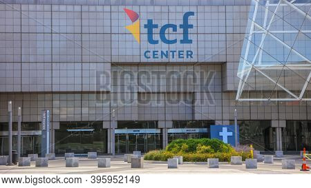 Detroit, MI - August 30, 2020:  TCF Center is a convention center  in downtown Detroit, formerly known as Cobo Hall.