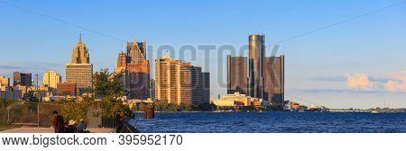 Detroit, MI USA - 8/30/2020:  panoramic view of Skyline of Detroit downtown under evening sun light