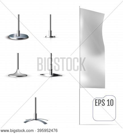 White Banner Flag. Realistic Mockup Of Banner Flag With Folds And Mounting. Vector
