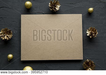 Golden Christmas Decoration Frame With Empty Space On Card For Greeting, Merry Christmas And A Happy