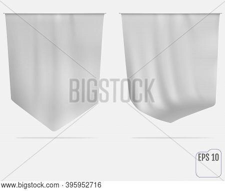 Flag Or Pennant Mockup. White Canvas Fabric Wall Hanging Award Banner. Decor Advertising Shield. Moc