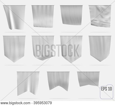 White Pennant Template. Realistic Empty 3d Pennant Mockup. Flag Flies In The Wind.