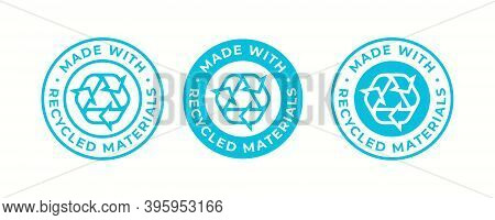Recycling Icon, Made Of Recycled Materials Logo For Recyclable Package Or Plastic Bag. Biodegradable