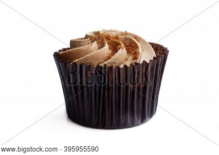 Mini  Cupcake With Caramelised Cream And Crumb Isolated On White