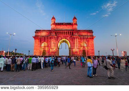 Mumbai, India - February 21, 2014: Gateway Of India At Night. Gateway Of India Is An Arch Monument I