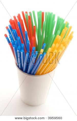 Cup Of Colored Straws