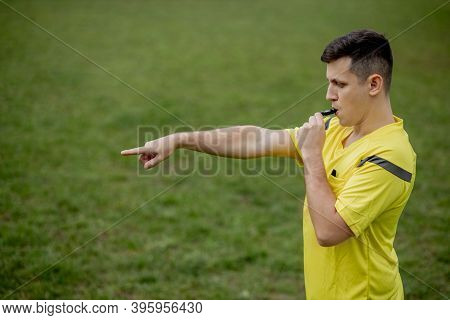 Referee Indicates A Violation Of The Rules. Concept Of Sport, Rules Violation, Controversial Issues,