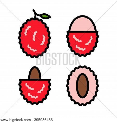 Lychees Icons Set. Color Outline Set Of Lychees Vector Icons Isolated On White Background