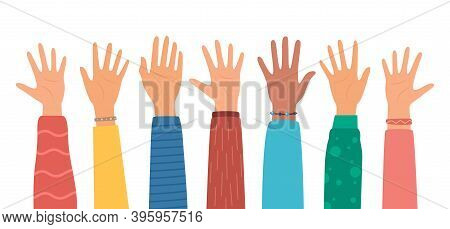 Multicultural Crowd Of People With Hands Up, Teamwork Of Multinational Team. Diverse Young People, M